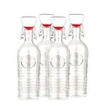 Bormioli Rocco 4er Set Glasflaschen Officina 1825 - Mit Relief und Riffelung - Italienische Qualität - Ideal für Einkochen, Getränke, Fermentierung, Dekoration