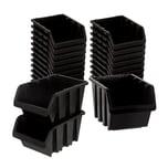 BigDean Sichtlagerboxen Set 28 Stück Schwarz Größe 3 (19,5x12x9 cm) - nestbar & stapelbar - Ordnungssystem für Werkstatt, Keller & Garage