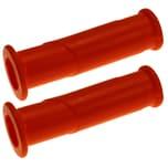BigDean 2x Schubkarren Universal Griffe - 14 cm Länge - 30 mm Innendurchmesser - Rundrohre ORANGE Karrengriff Schiebkarre Schubkarrengriffe Sackkarre