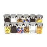 BigDean 12er Set Vorratsgläser Gewürzglaser 300ml klein eckig - aus Glas mit Edelstahl-Deckel - luftdicht - Vorratsdosen Glas-Behälter Glas-Dosen - Aufbewahrung für Gewürze, Tee, Kaffee etc