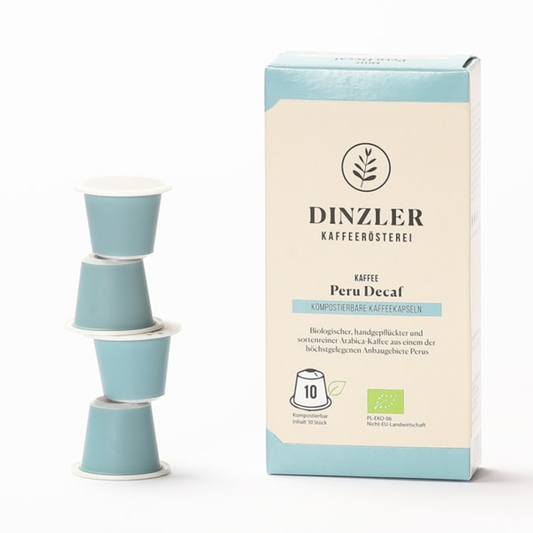 Dinzler Kaffeerösterei Bio Kaffeekapseln Peru Decaf (10 Stück)