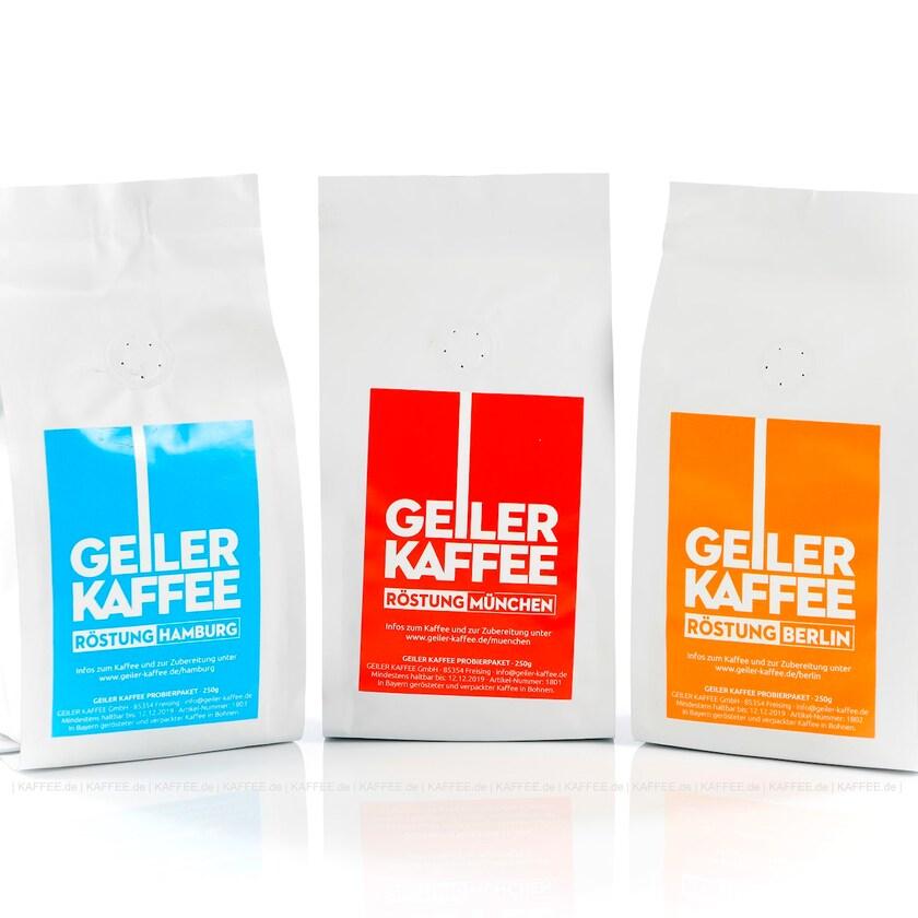 Probierpaket GEILER KAFFEE 3x 250 g 1x 750 g Kaffeebohnen