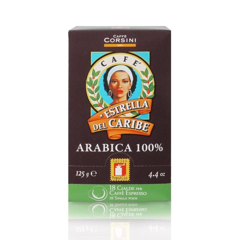 Caffè Corsini Estrella Del Caribe 100% Arabica 18*7g Pads Gemahlen
