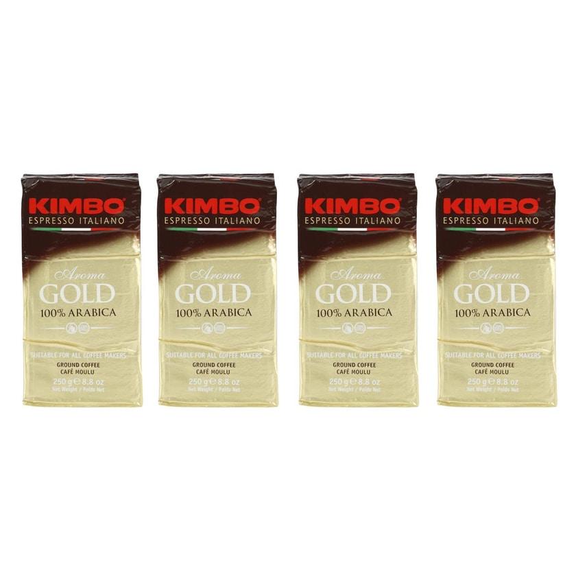 KIMBO Aroma Gold 100% Arabica, gemahlener Espresso, 1kg (4 x 250g)