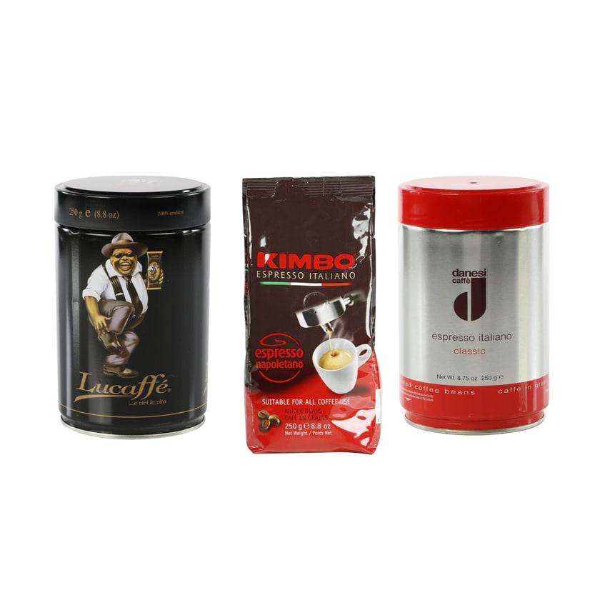 """Espressobohnen im Probierset: """"Italien-Urlaub"""" mit 100%ig italienischen Espressobohnen (3 x 250g)"""