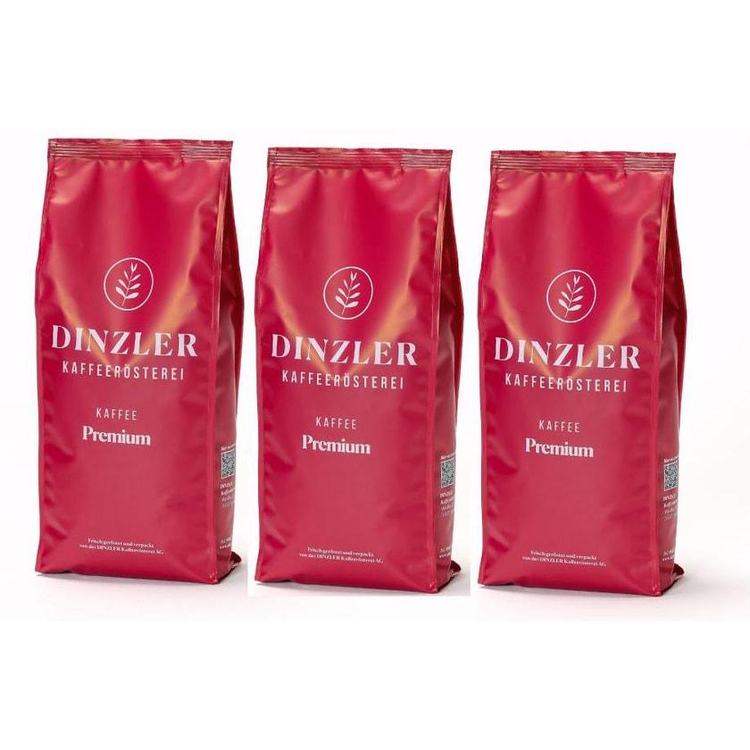 Dinzler Kaffeerösterei Kaffee Premium Kaffeebohnen 3kg (3 x 1kg)