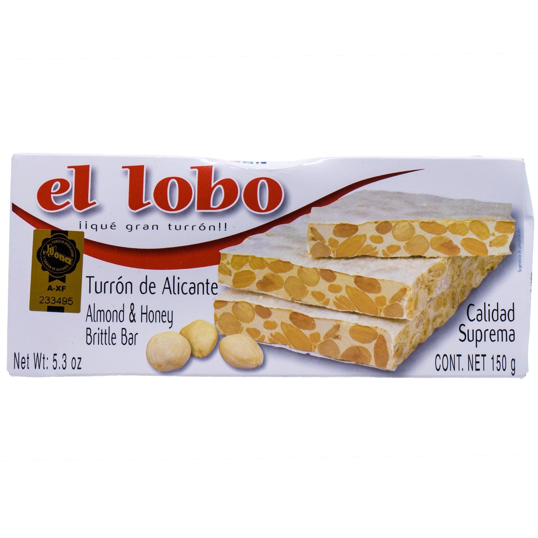 El Lobo Turron de Alicante Calidad Suprema Harte Mandelnougattafel mit Honig 150g