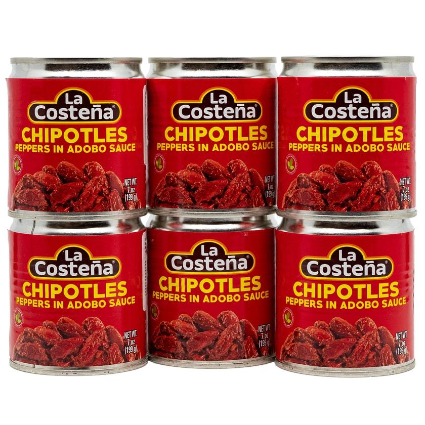 La Costena Chipotles Peppers in Adobo Sauce ganze geröstete rote Jalapeno Chilis in pikanter Soße 6x199g