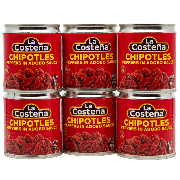 La Costena Chipotles Peppers in Adobo Sauce ganze geröstete rote Jalapeno Chilis in pikanter Soße 6 x 199g, 1.194g