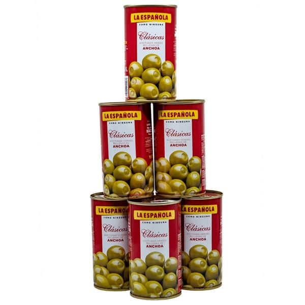 La Española Grüne Oliven gefüllt mit Sardellen 6 x 150g, 900g