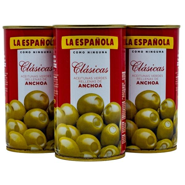 La Española Grüne Oliven gefüllt mit Sardellen 3 x 150g, 450g