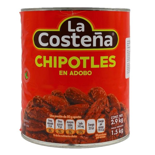 La Costeña Chili Chipotle adbados in Adobo Sauce geröstete Chilis in pikanter Soße 1,5kg