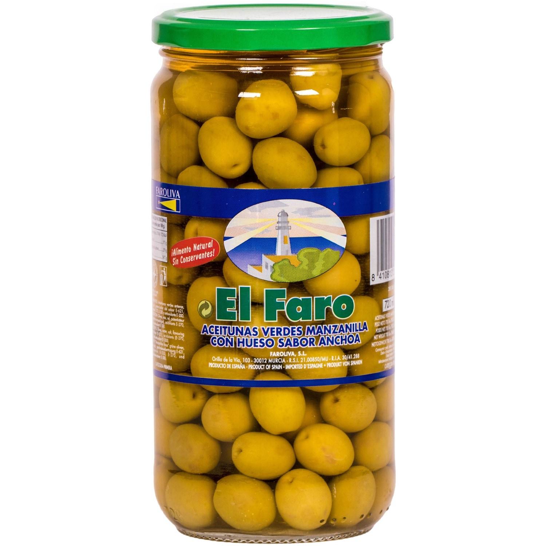 El Faro Manzanilla Oliven mit Stein und Sardellengeschmack 400g