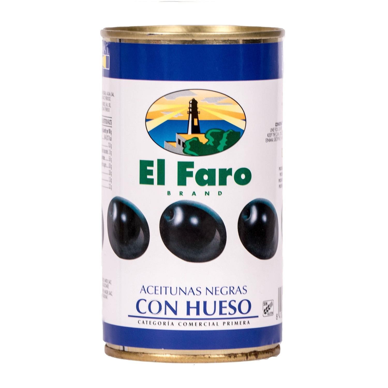 El Faro schwarze Oliven mit Kern 190g