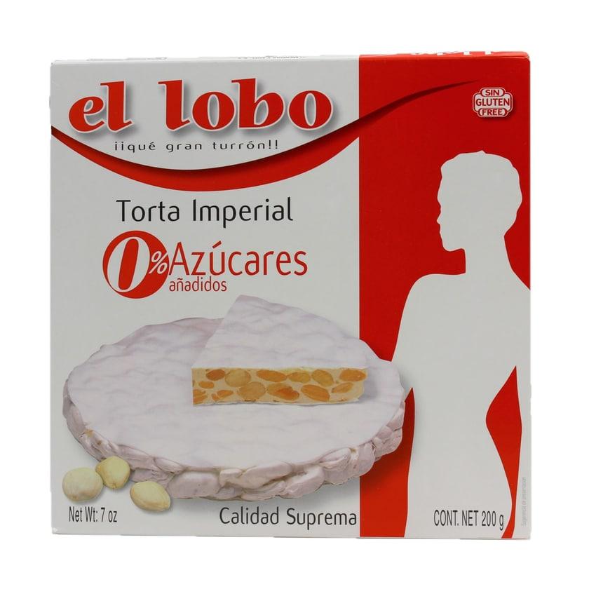 El Lobo Torta Imperial 0% Azúcares Turron rund ohne Zuckerzusätze 200g