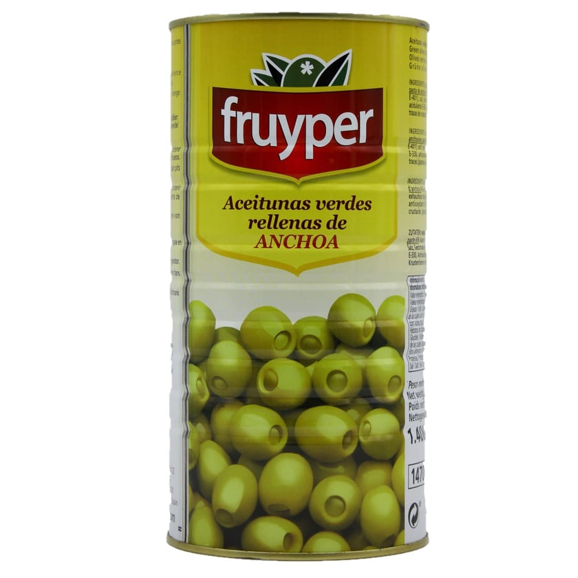 Fruyper Grüne Oliven mit Sardellen Aceitunas verdes rellenas de Anchoa 600g