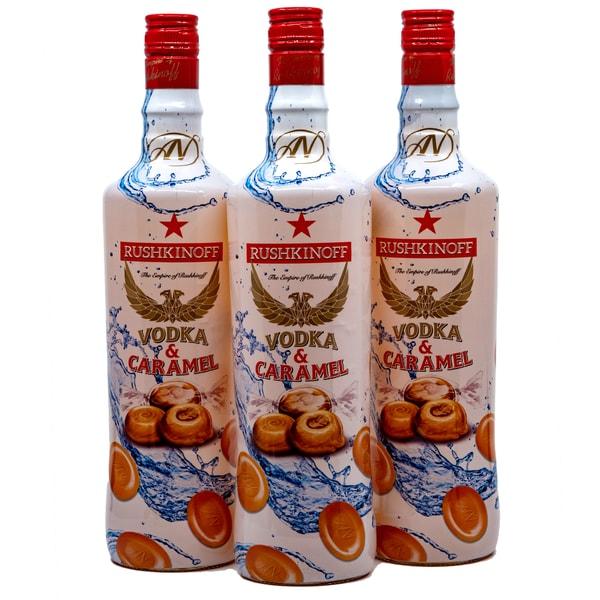 Rushkinoff Vodka & Karamell 3 x 0,7l, 2,1l