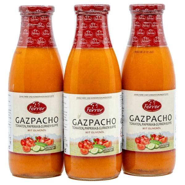 Ferrer Gazpacho Kalte Gemüsesuppe 3 x 720ml, 2.160ml