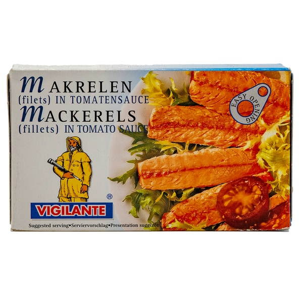 Vigilante Caballa filetes en tomate Makrelenfilets in Tomatensauce 58g