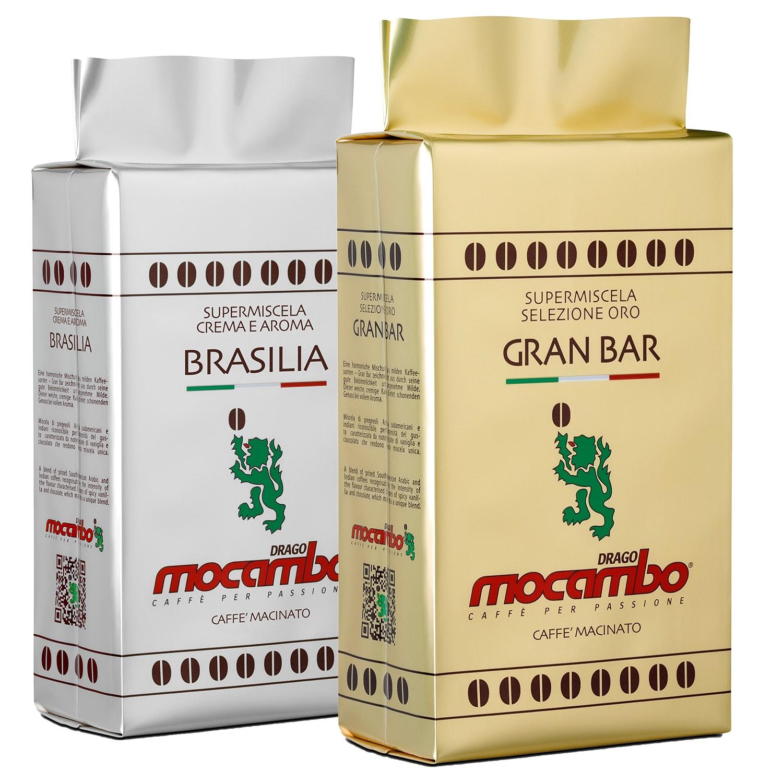 Mocambo Kaffee-Set gemahlen GranBar und Brasilia 500g