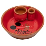 Terrissaires Palillero y Aceituna Rote Olivenschale mit Kern- und Zahnstocherhalter