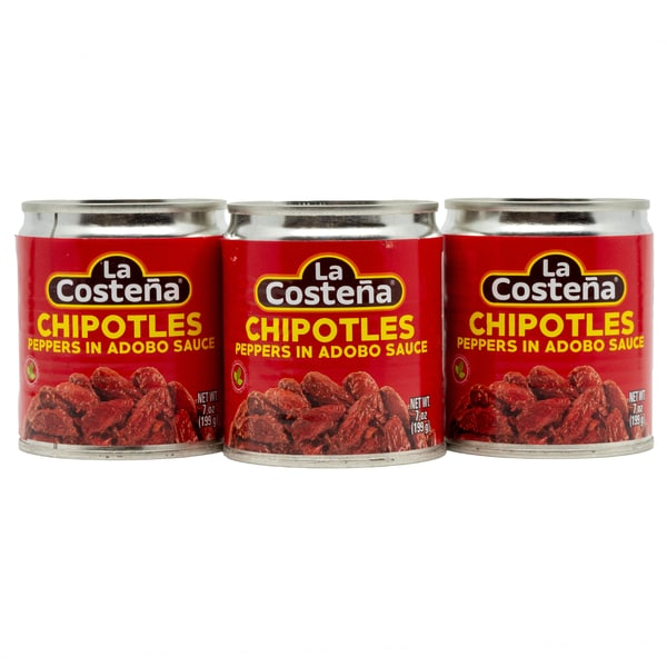 La Costena Chipotles Peppers in Adobo Sauce ganze geröstete rote Jalapeno Chilis in pikanter Soße 3 x 199g, 597g