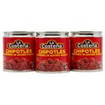 La Costena Chipotles Peppers in Adobo Sauce ganze geröstete rote Jalapeno Chilis in pikanter Soße 3x199g