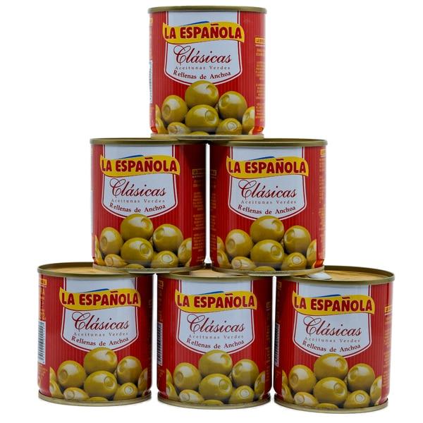 La Española Clasicas Grüne Oliven gefüllt mit Sardellen 6 x 85g, 510g