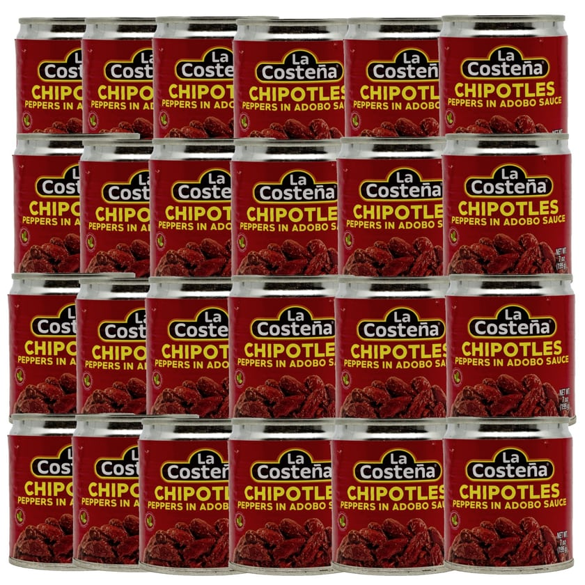 La Costena Chipotles Peppers in Adobo Sauce ganze geröstete rote Jalapeno Chilis in pikanter Soße 24 x 199g, 4.776g