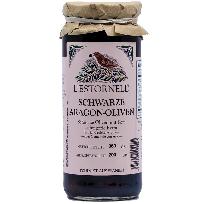 L´Estornell Schwarze Aragon Oliven mit Kern 200g