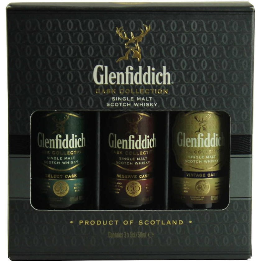 Glenfiddich Whisky Cask Collection Miniatures 3 x 5 cl