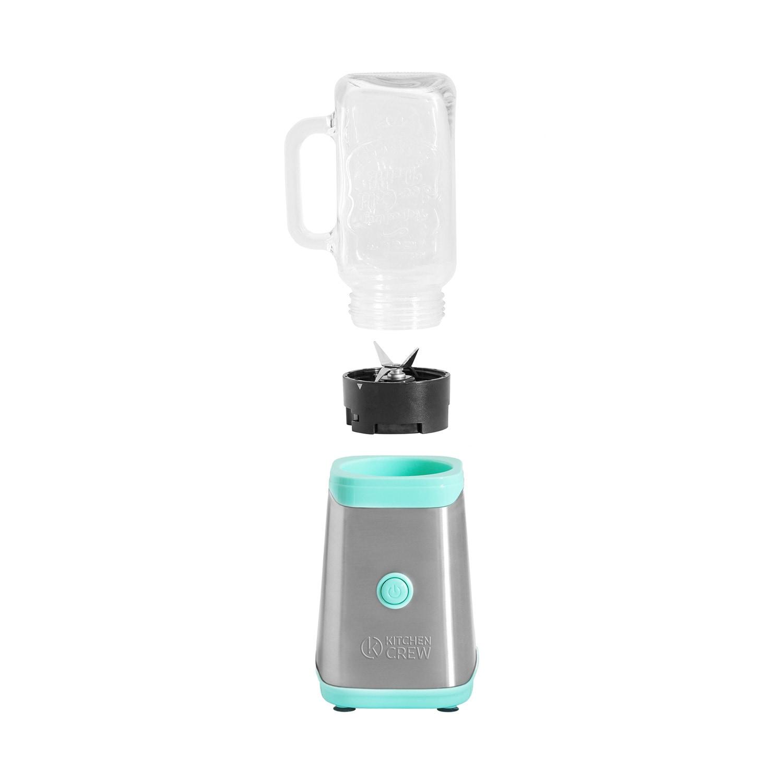 Kitchen Crew Mason Jar Smoothie Maker 350 Watt grün + 2 Gläser, Trinkflasche und Schutzhülle