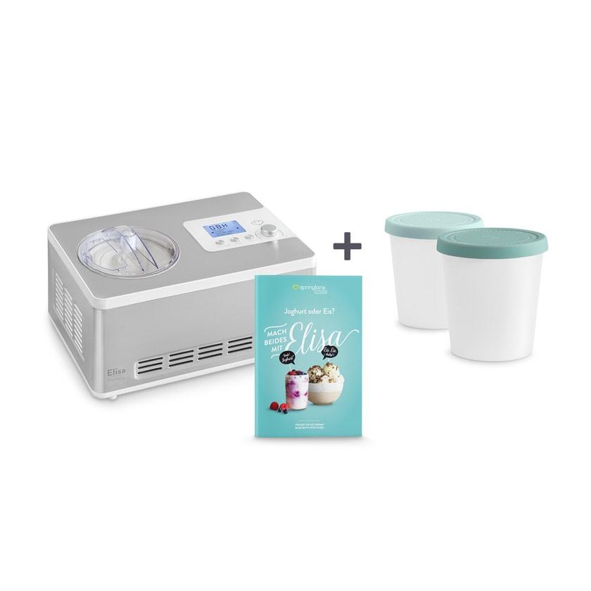 Springlane Eismaschine und Joghurtbereiter Elisa + 2 Aufbewahrungsbehälter Nordic Reef 2l silber