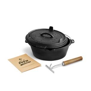 Burnhard Dutch Oven Feuertopf aus Gusseisen 5,6l schwarz