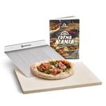 Burnhard Universal Pizzastein für Backofen & Grill aus Cordierit 38 x 30 x 1.5 cm inkl. Pizzaschieber