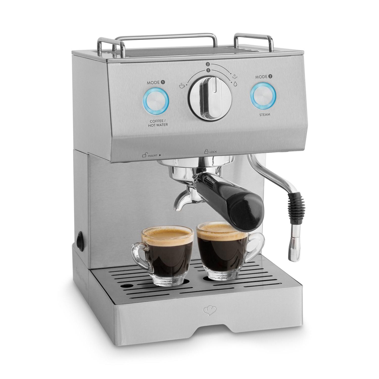 Springlane Kitchen Edelstahl Espressomaschine Emilia 1140 Watt inkl. Espressoanleitung