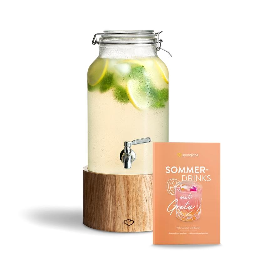 Springlane Getränkespender Greta mit Zapfhahn und Holzständer 5l