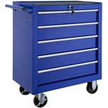 Tectake Werkzeugwagen mit 5 Schubladen blau