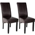 Tectake 2 Esszimmerstühle ergonomisch massives Hartholz braun