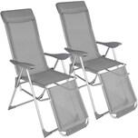 Tectake 2 Aluminium Gartenstühle mit Kopfteil und Fußteil grau