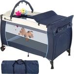 Tectake Kinderreisebett Hund mit Wickelauflage blau
