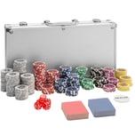 Tectake Pokerset inkl. Aluminiumkoffer silber 300-teilig