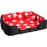 Tectake Hundebett mit Decke und Kissen 110 x 90 cm schwarz rot weiß