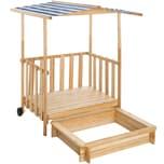 Tectake Sandkasten und Spielveranda mit Dach Gretchen blau
