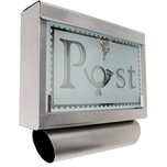 Tectake Edelstahl Briefkasten mit Zeitungsröhre und Glasfront silber