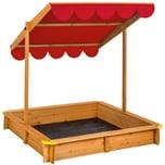 Tectake Sandkasten mit verstellbarem Dach rot