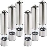 Tectake 6 Elektrische Salz Pfeffermühlen aus Edelstahl mit Lampe silber