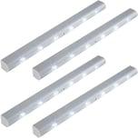 Tectake 4 LED Lichtleisten mit Bewegungsmelder grau