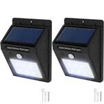 Tectake 2 LED Solar Leuchten mit Bewegungsmelder schwarz