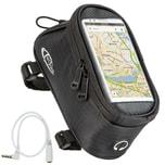 Tectake Fahrradtasche mit Rahmen Befestigung für Smartphones schwarz 20 x 9 5 x 10 cm